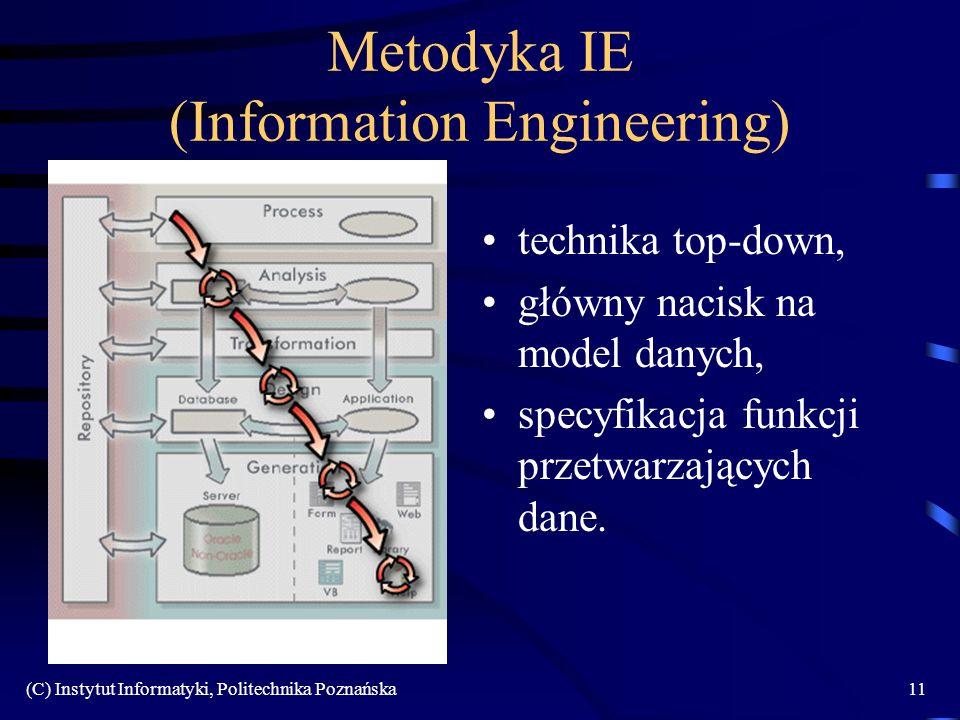 (C) Instytut Informatyki, Politechnika Poznańska11 Metodyka IE (Information Engineering) technika top-down, główny nacisk na model danych, specyfikacja funkcji przetwarzających dane.