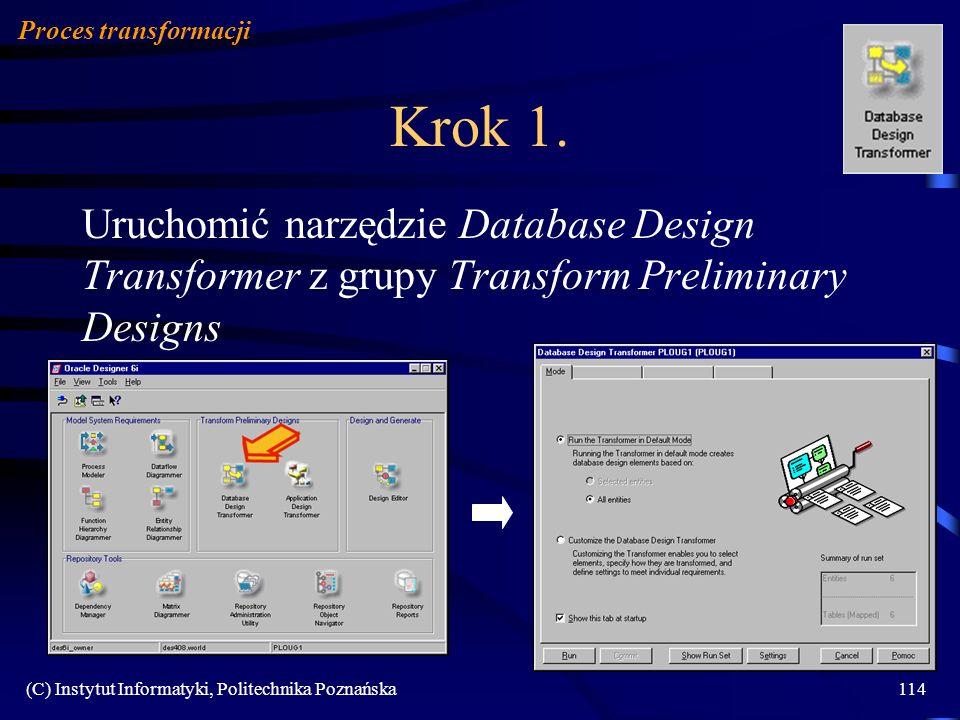 (C) Instytut Informatyki, Politechnika Poznańska114 Krok 1. Uruchomić narzędzie Database Design Transformer z grupy Transform Preliminary Designs Proc