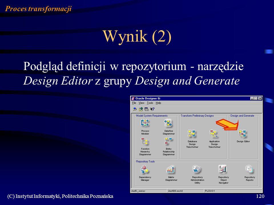 (C) Instytut Informatyki, Politechnika Poznańska120 Wynik (2) Proces transformacji Podgląd definicji w repozytorium - narzędzie Design Editor z grupy