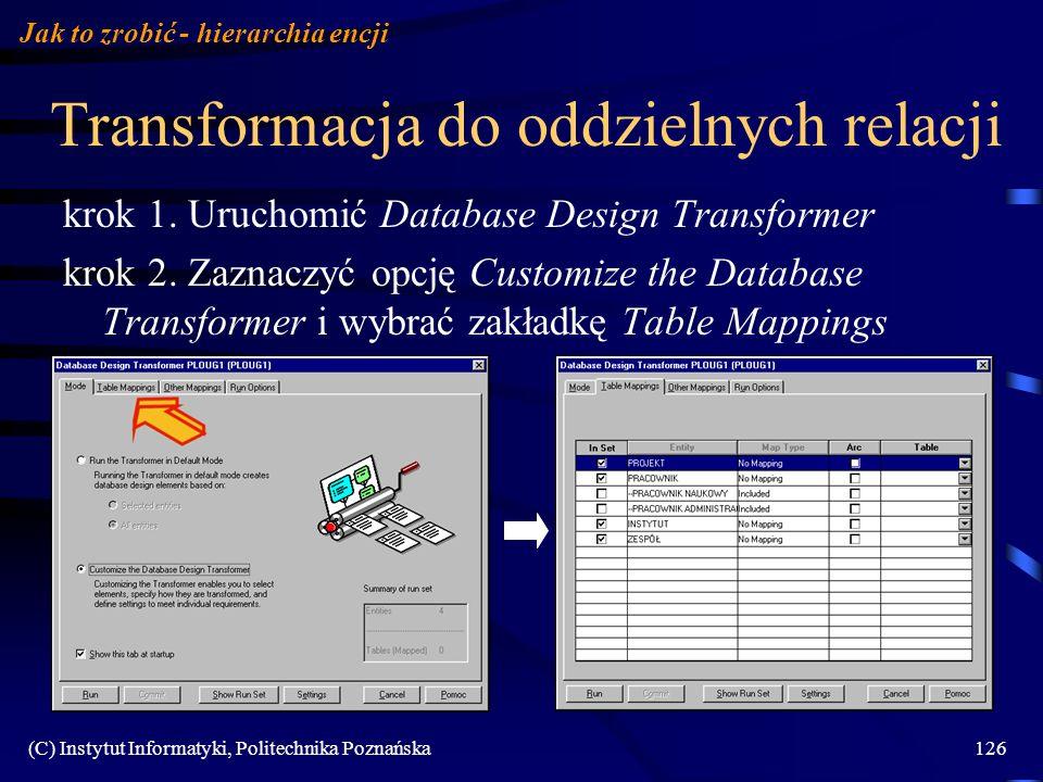 (C) Instytut Informatyki, Politechnika Poznańska126 Transformacja do oddzielnych relacji krok 1. Uruchomić Database Design Transformer krok 2. Zaznacz