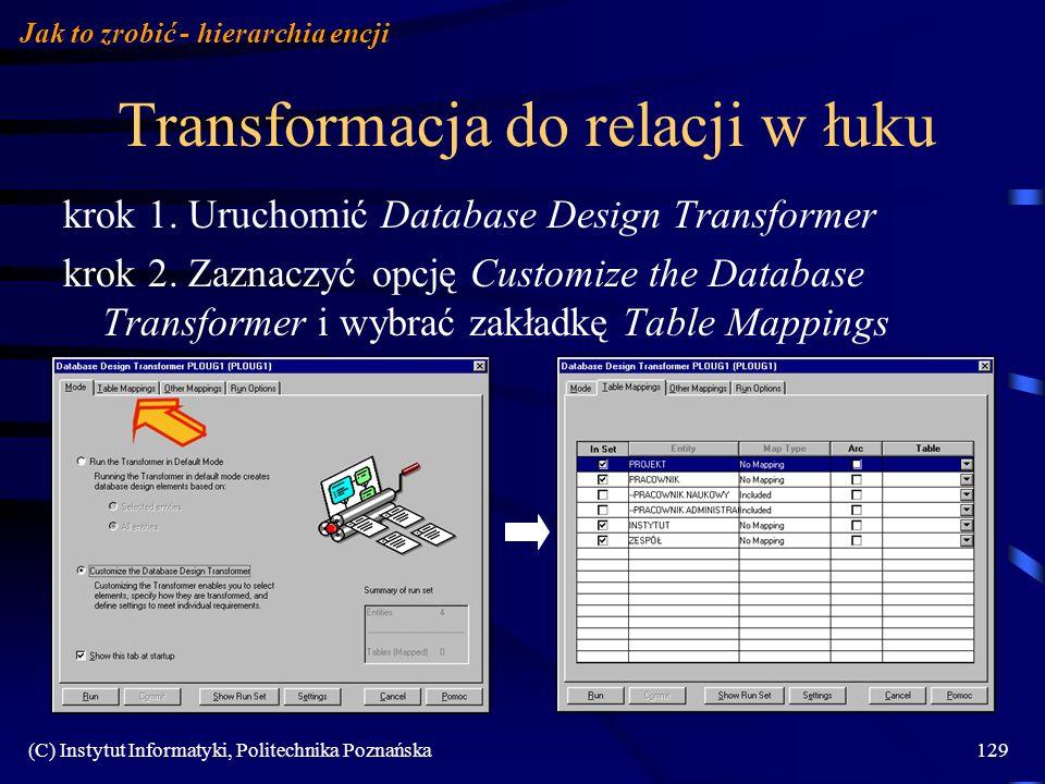 (C) Instytut Informatyki, Politechnika Poznańska129 Transformacja do relacji w łuku krok 1. Uruchomić Database Design Transformer krok 2. Zaznaczyć op