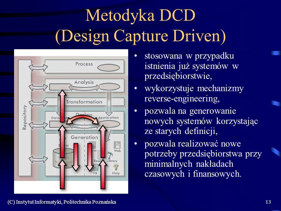 (C) Instytut Informatyki, Politechnika Poznańska13 Metodyka DCD (Design Capture Driven) stosowana w przypadku istnienia już systemów w przedsiębiorstw