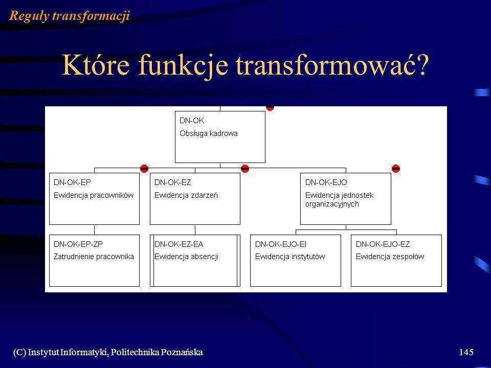(C) Instytut Informatyki, Politechnika Poznańska145 Które funkcje transformować? Reguły transformacji