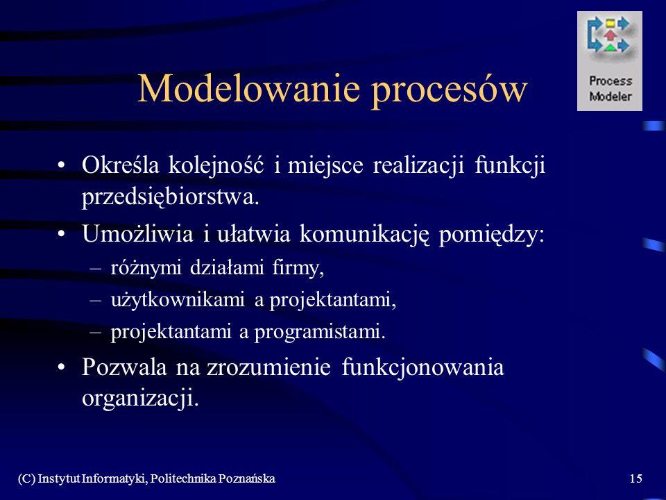 (C) Instytut Informatyki, Politechnika Poznańska15 Modelowanie procesów Określa kolejność i miejsce realizacji funkcji przedsiębiorstwa. Umożliwia i u