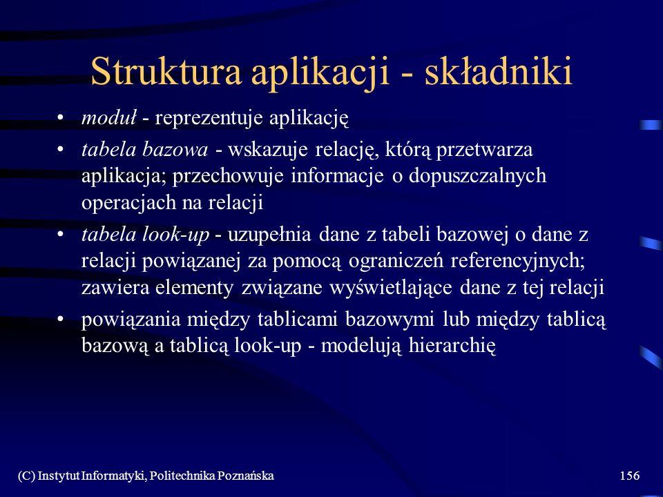 (C) Instytut Informatyki, Politechnika Poznańska156 Struktura aplikacji - składniki moduł - reprezentuje aplikację tabela bazowa - wskazuje relację, k
