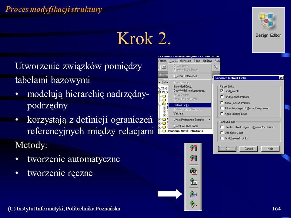 (C) Instytut Informatyki, Politechnika Poznańska164 Krok 2. Utworzenie związków pomiędzy tabelami bazowymi modelują hierarchię nadrzędny- podrzędny ko