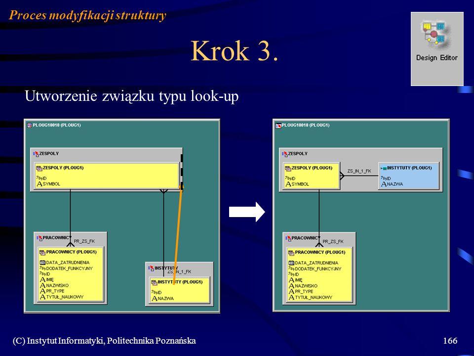 (C) Instytut Informatyki, Politechnika Poznańska166 Krok 3. Utworzenie związku typu look-up Proces modyfikacji struktury