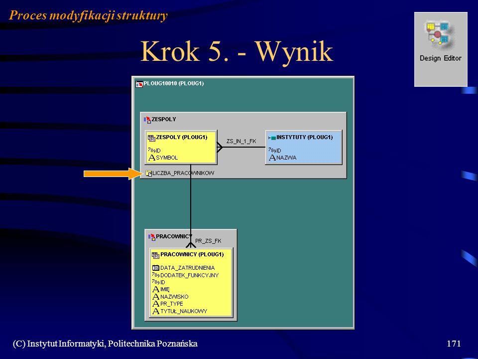 (C) Instytut Informatyki, Politechnika Poznańska171 Krok 5. - Wynik Proces modyfikacji struktury