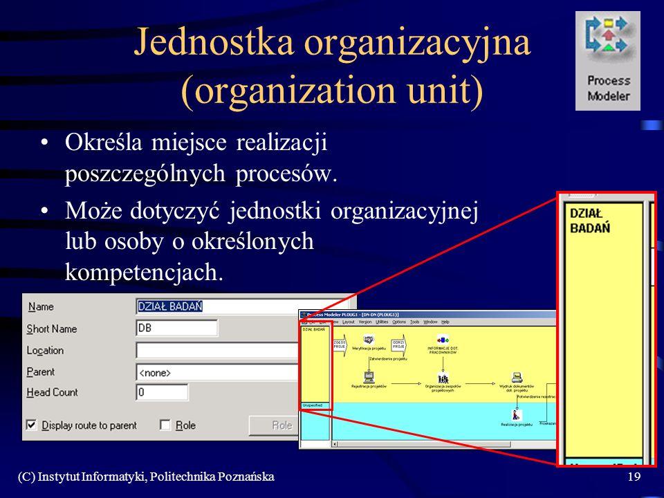 (C) Instytut Informatyki, Politechnika Poznańska19 Jednostka organizacyjna (organization unit) Określa miejsce realizacji poszczególnych procesów.