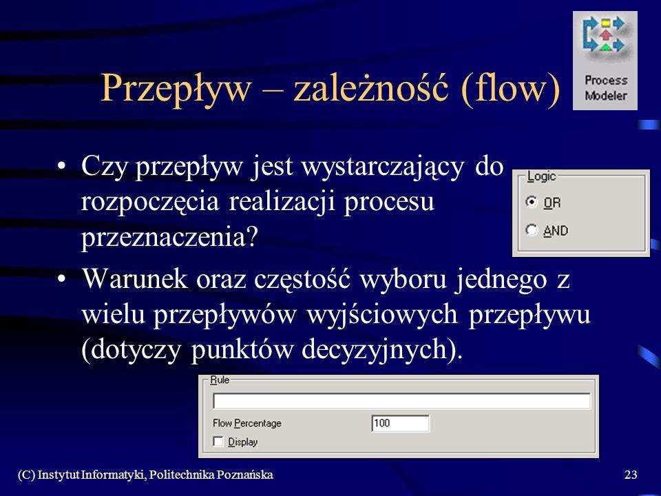 (C) Instytut Informatyki, Politechnika Poznańska23 Przepływ – zależność (flow) Czy przepływ jest wystarczający do rozpoczęcia realizacji procesu przez