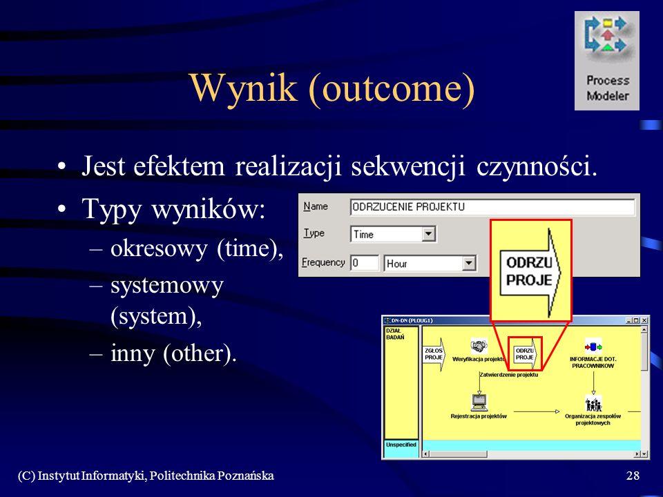 (C) Instytut Informatyki, Politechnika Poznańska28 Wynik (outcome) Jest efektem realizacji sekwencji czynności. Typy wyników: –okresowy (time), –syste