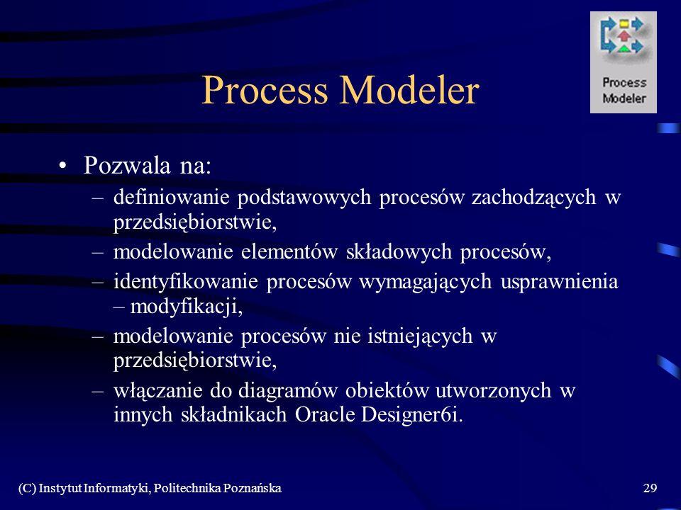 (C) Instytut Informatyki, Politechnika Poznańska29 Process Modeler Pozwala na: –definiowanie podstawowych procesów zachodzących w przedsiębiorstwie, –modelowanie elementów składowych procesów, –identyfikowanie procesów wymagających usprawnienia – modyfikacji, –modelowanie procesów nie istniejących w przedsiębiorstwie, –włączanie do diagramów obiektów utworzonych w innych składnikach Oracle Designer6i.