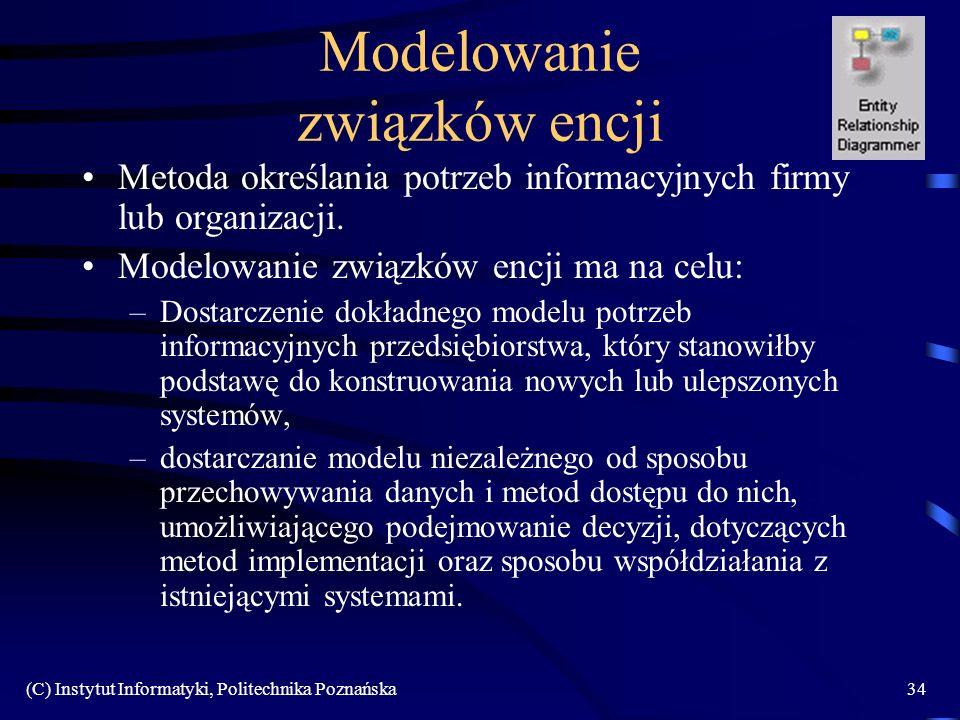 (C) Instytut Informatyki, Politechnika Poznańska34 Modelowanie związków encji Metoda określania potrzeb informacyjnych firmy lub organizacji. Modelowa
