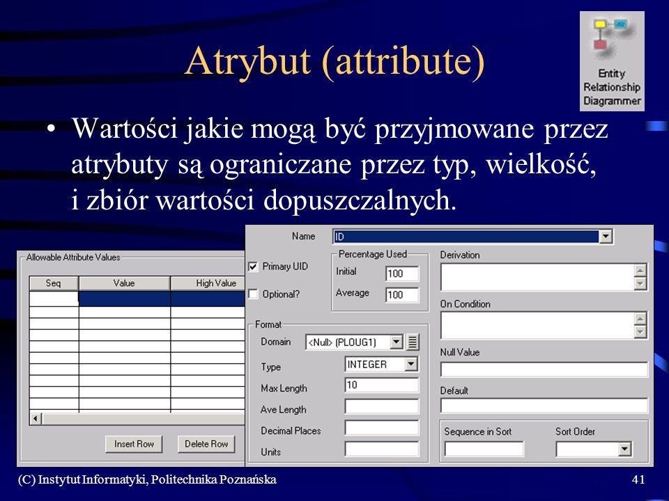 (C) Instytut Informatyki, Politechnika Poznańska41 Atrybut (attribute) Wartości jakie mogą być przyjmowane przez atrybuty są ograniczane przez typ, wielkość, i zbiór wartości dopuszczalnych.