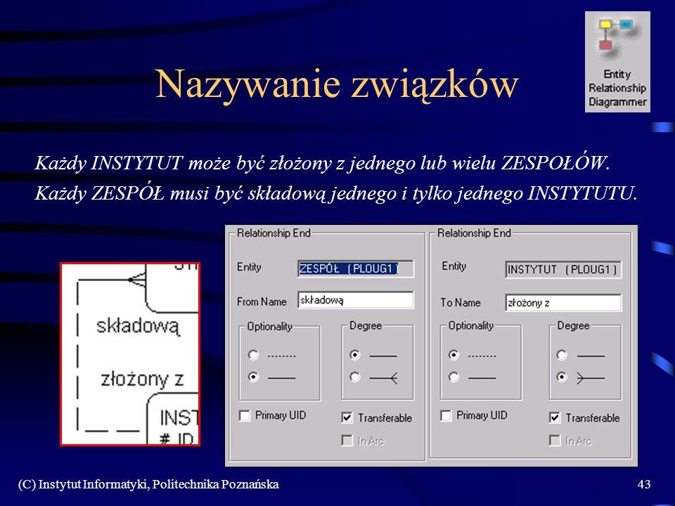 (C) Instytut Informatyki, Politechnika Poznańska43 Nazywanie związków Każdy INSTYTUT może być złożony z jednego lub wielu ZESPOŁÓW. Każdy ZESPÓŁ musi