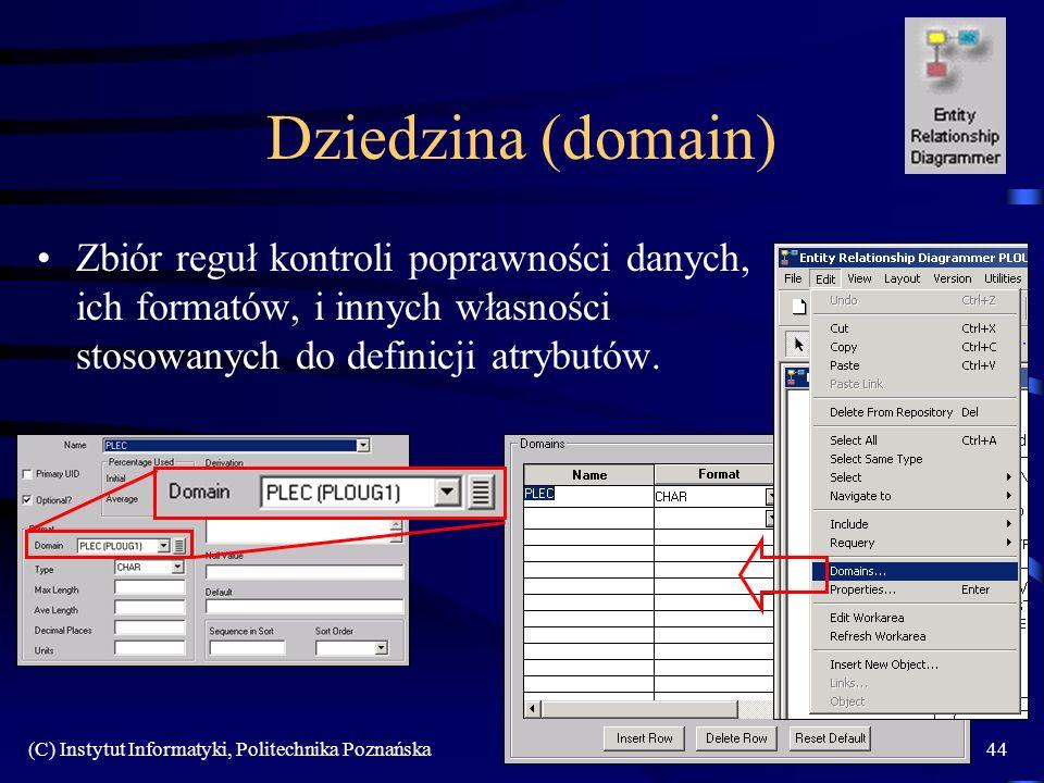 (C) Instytut Informatyki, Politechnika Poznańska44 Dziedzina (domain) Zbiór reguł kontroli poprawności danych, ich formatów, i innych własności stosowanych do definicji atrybutów.