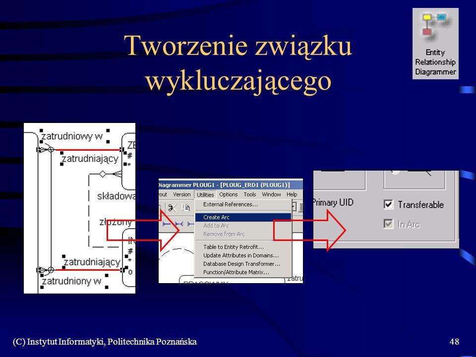 (C) Instytut Informatyki, Politechnika Poznańska48 Tworzenie związku wykluczającego