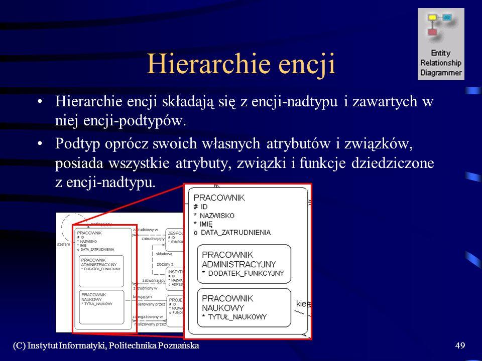 (C) Instytut Informatyki, Politechnika Poznańska49 Hierarchie encji Hierarchie encji składają się z encji-nadtypu i zawartych w niej encji-podtypów. P