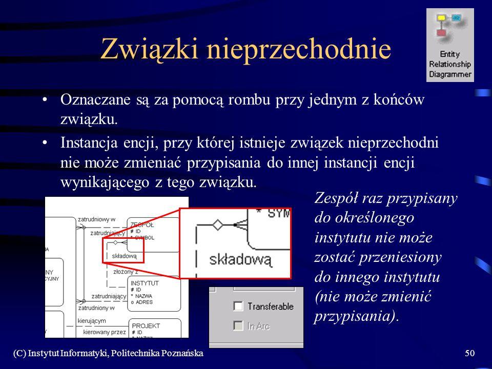 (C) Instytut Informatyki, Politechnika Poznańska50 Związki nieprzechodnie Oznaczane są za pomocą rombu przy jednym z końców związku. Instancja encji,