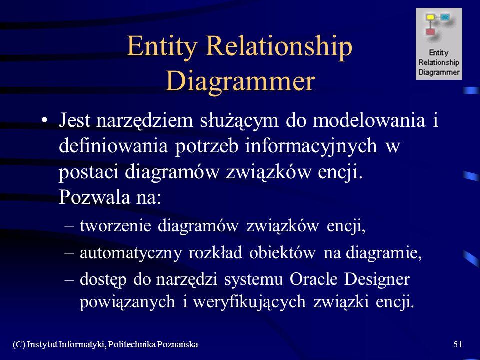 (C) Instytut Informatyki, Politechnika Poznańska51 Entity Relationship Diagrammer Jest narzędziem służącym do modelowania i definiowania potrzeb informacyjnych w postaci diagramów związków encji.