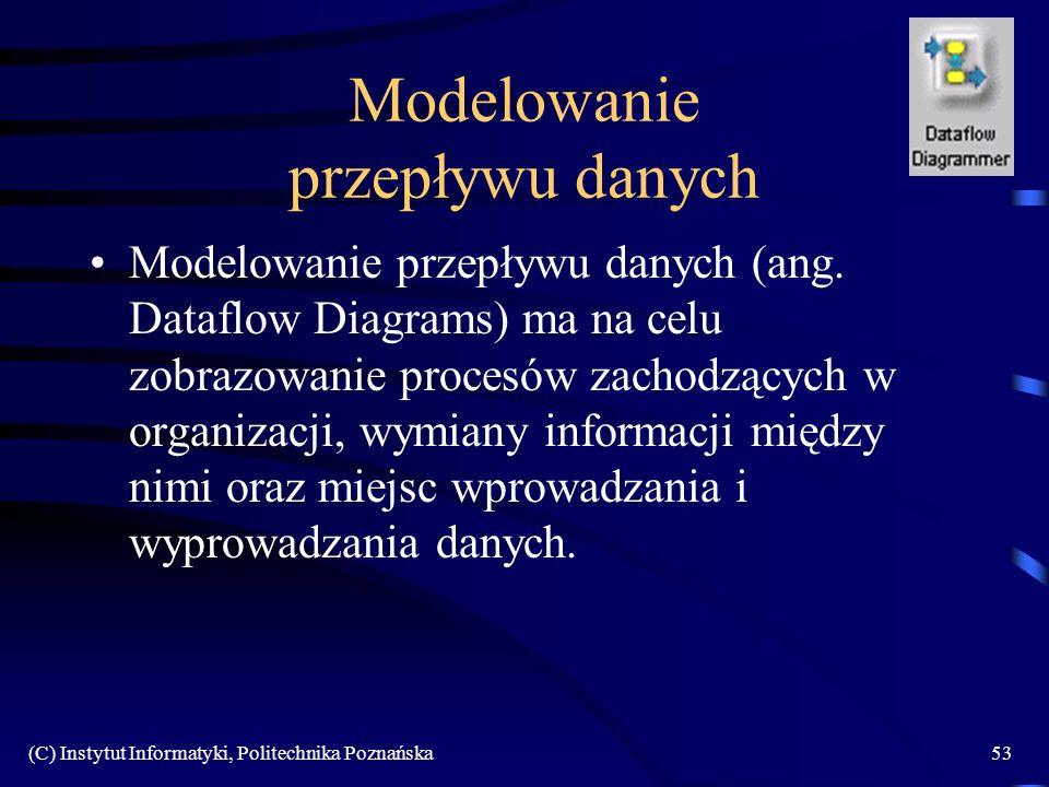 (C) Instytut Informatyki, Politechnika Poznańska53 Modelowanie przepływu danych Modelowanie przepływu danych (ang. Dataflow Diagrams) ma na celu zobra