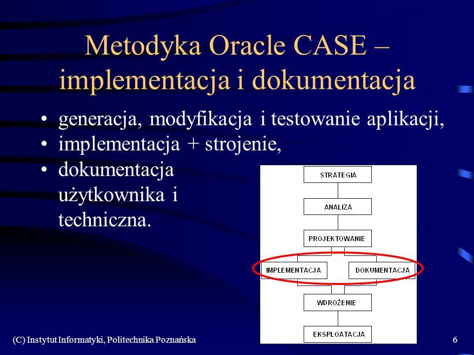 (C) Instytut Informatyki, Politechnika Poznańska107 Sposób trzeci Kiedy stosować: –związki przywiązane zarówno do nadtypu jak i podtypów Zalety: –zachowanie obowiązkowości atrybutów w podtypach –łatwy dostęp do informacji z nadtypu Wady: –komplikacja schematu –konieczność stosowania połączeń (SQL) Zasady: –jedna relacja z atrybutami wspólnymi, dla każdego podtypu osobna relacja z jego atrybutami specyficznymi –relacje połączone kluczami obcymi w łuku Transformacja hierarchii