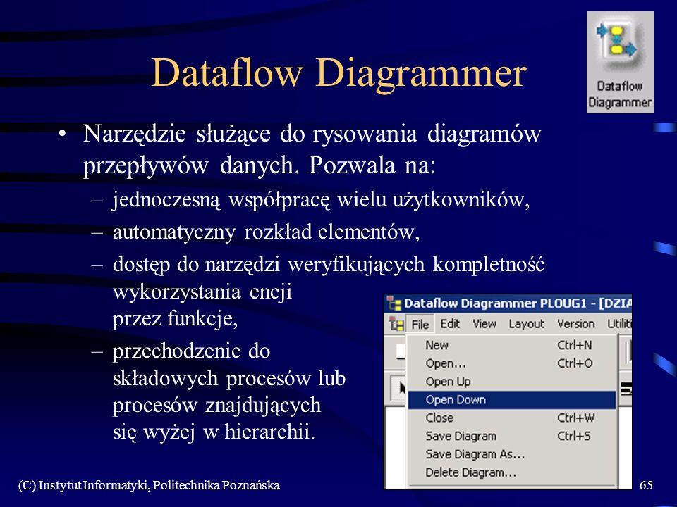 (C) Instytut Informatyki, Politechnika Poznańska65 Dataflow Diagrammer Narzędzie służące do rysowania diagramów przepływów danych. Pozwala na: –jednoc