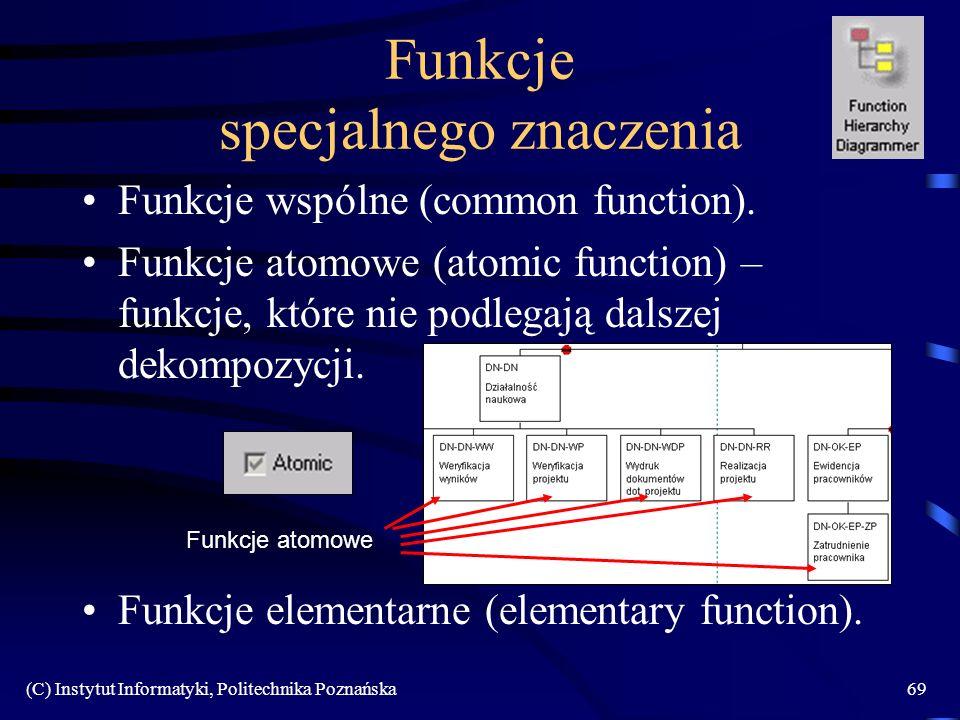 (C) Instytut Informatyki, Politechnika Poznańska69 Funkcje specjalnego znaczenia Funkcje wspólne (common function). Funkcje atomowe (atomic function)