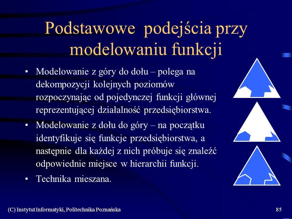 (C) Instytut Informatyki, Politechnika Poznańska85 Podstawowe podejścia przy modelowaniu funkcji Modelowanie z góry do dołu – polega na dekompozycji kolejnych poziomów rozpoczynając od pojedynczej funkcji głównej reprezentującej działalność przedsiębiorstwa.