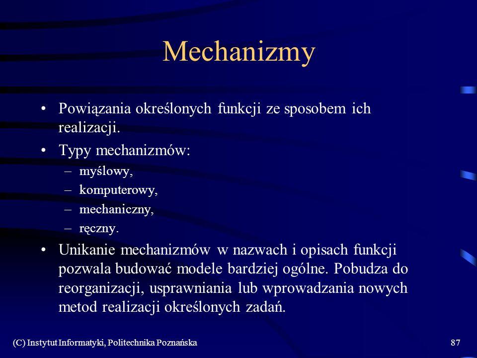 (C) Instytut Informatyki, Politechnika Poznańska87 Mechanizmy Powiązania określonych funkcji ze sposobem ich realizacji. Typy mechanizmów: –myślowy, –