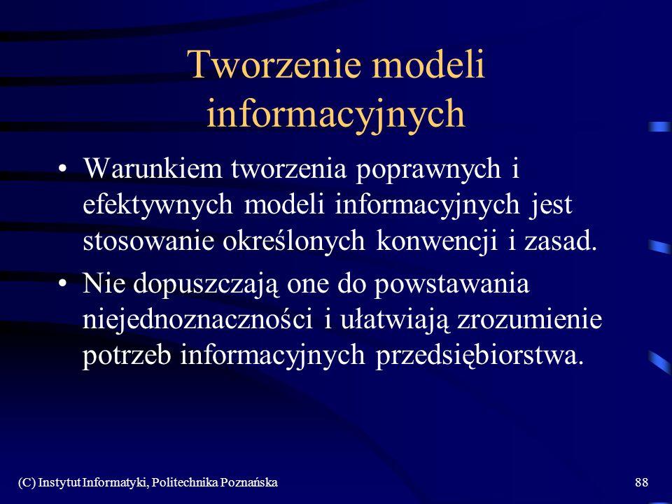(C) Instytut Informatyki, Politechnika Poznańska88 Tworzenie modeli informacyjnych Warunkiem tworzenia poprawnych i efektywnych modeli informacyjnych