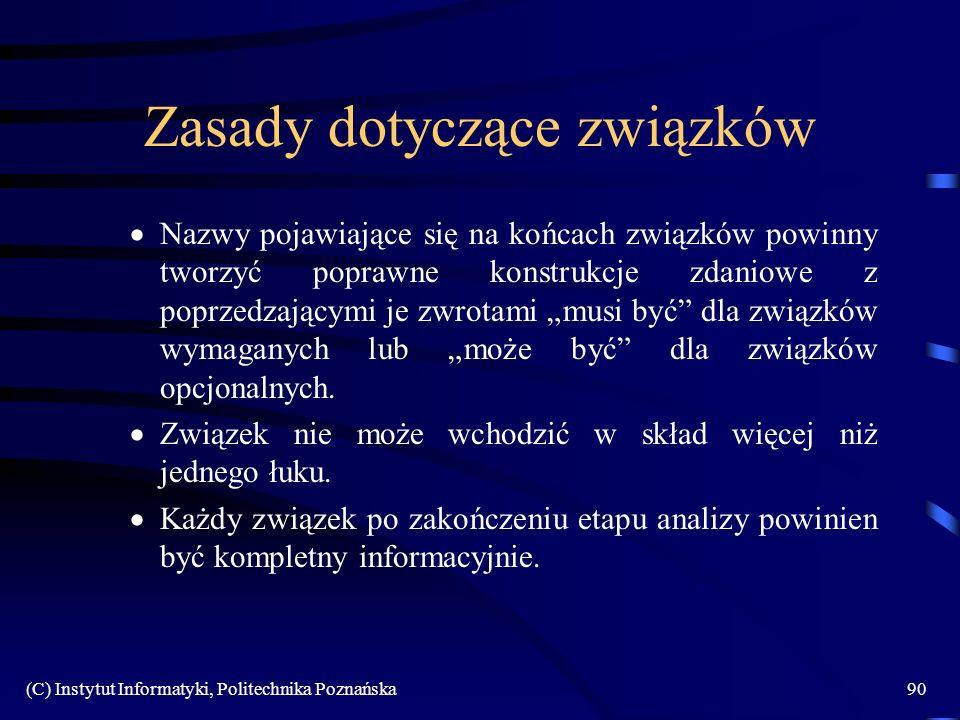 (C) Instytut Informatyki, Politechnika Poznańska90 Zasady dotyczące związków Nazwy pojawiające się na końcach związków powinny tworzyć poprawne konstr