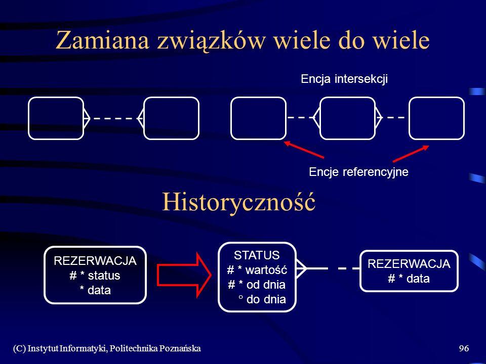(C) Instytut Informatyki, Politechnika Poznańska96 Zamiana związków wiele do wiele Historyczność REZERWACJA # * status * data REZERWACJA # * data STATUS # * wartość # * od dnia ° do dnia Encja intersekcji Encje referencyjne