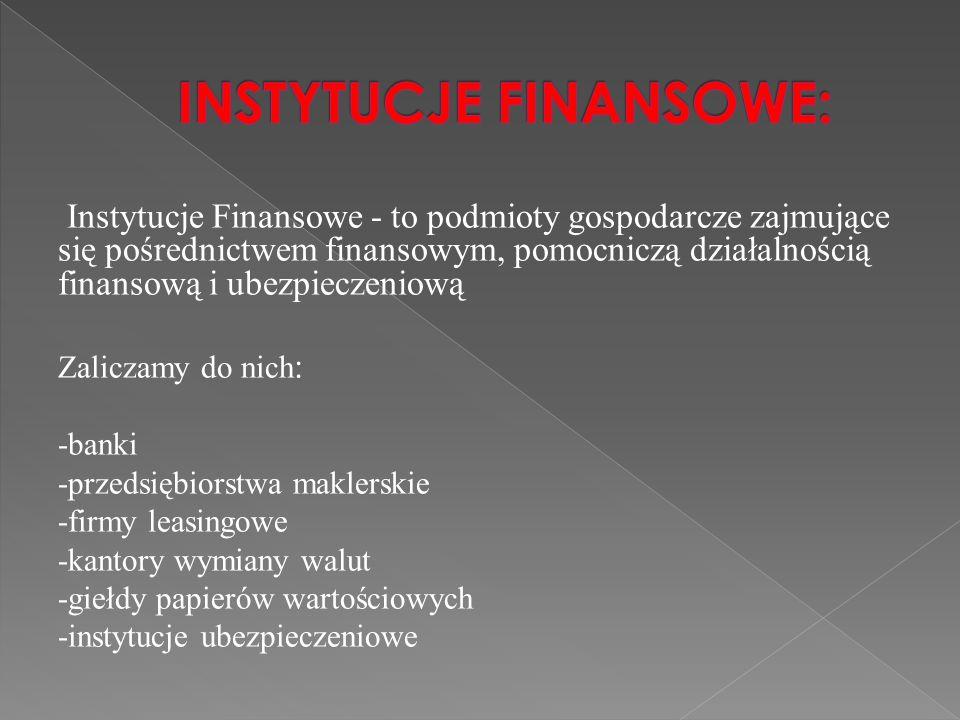 Instytucje Finansowe - to podmioty gospodarcze zajmujące się pośrednictwem finansowym, pomocniczą działalnością finansową i ubezpieczeniową Zaliczamy do nich : -banki -przedsiębiorstwa maklerskie -firmy leasingowe -kantory wymiany walut -giełdy papierów wartościowych -instytucje ubezpieczeniowe