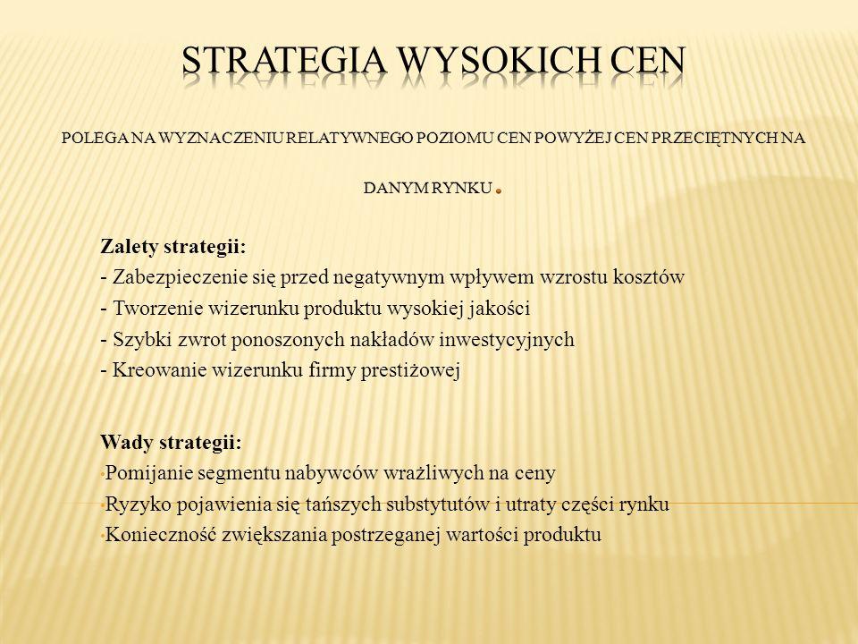 Zalety strategii: - Zabezpieczenie się przed negatywnym wpływem wzrostu kosztów - Tworzenie wizerunku produktu wysokiej jakości - Szybki zwrot ponoszo