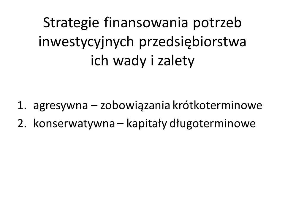 Strategie finansowania potrzeb inwestycyjnych przedsiębiorstwa ich wady i zalety 1.agresywna – zobowiązania krótkoterminowe 2.konserwatywna – kapitały