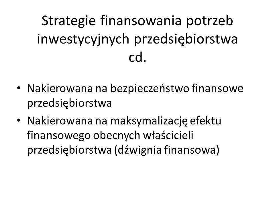 Strategie finansowania potrzeb inwestycyjnych przedsiębiorstwa cd. Nakierowana na bezpieczeństwo finansowe przedsiębiorstwa Nakierowana na maksymaliza