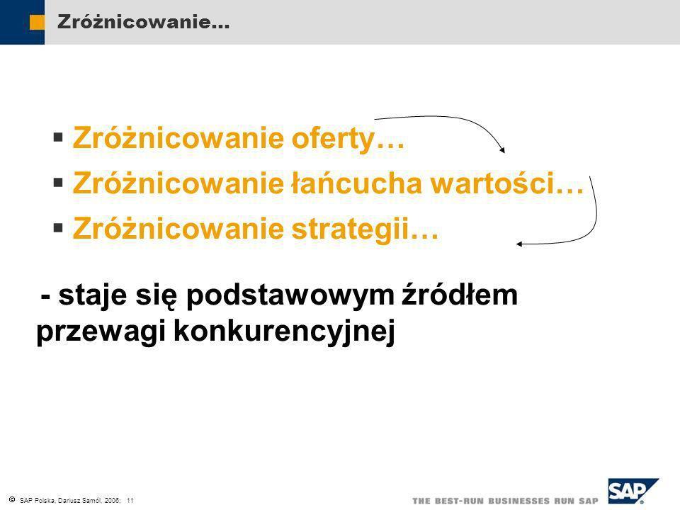 SAP Polska, Dariusz Samól, 2006; 11 Zróżnicowanie… Zróżnicowanie oferty… Zróżnicowanie łańcucha wartości… Zróżnicowanie strategii… - staje się podstaw