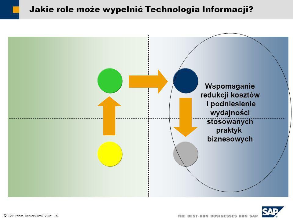 SAP Polska, Dariusz Samól, 2006; 25 Jakie role może wypełnić Technologia Informacji? Wspomaganie redukcji kosztów i podniesienie wydajności stosowanyc