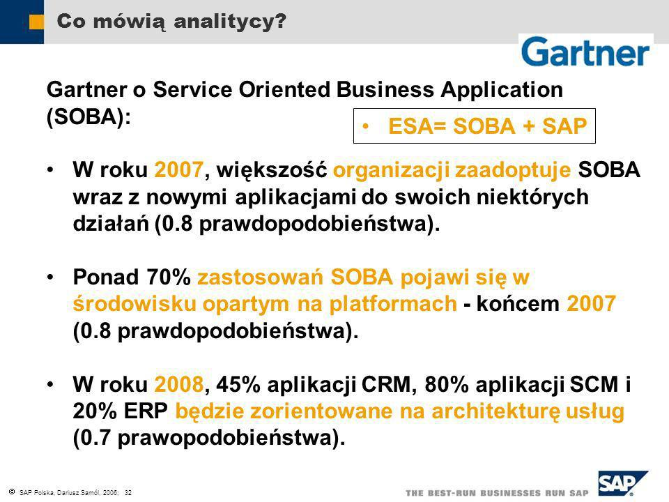 SAP Polska, Dariusz Samól, 2006; 32 Co mówią analitycy? Gartner o Service Oriented Business Application (SOBA): W roku 2007, większość organizacji zaa
