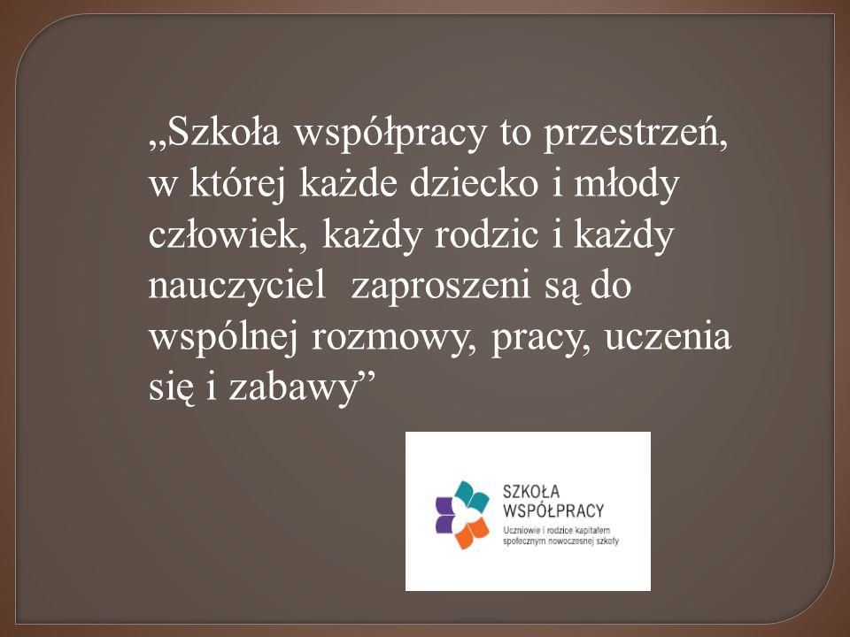 Szkoła współpracy to przestrzeń, w której każde dziecko i młody człowiek, każdy rodzic i każdy nauczyciel zaproszeni są do wspólnej rozmowy, pracy, uczenia się i zabawy