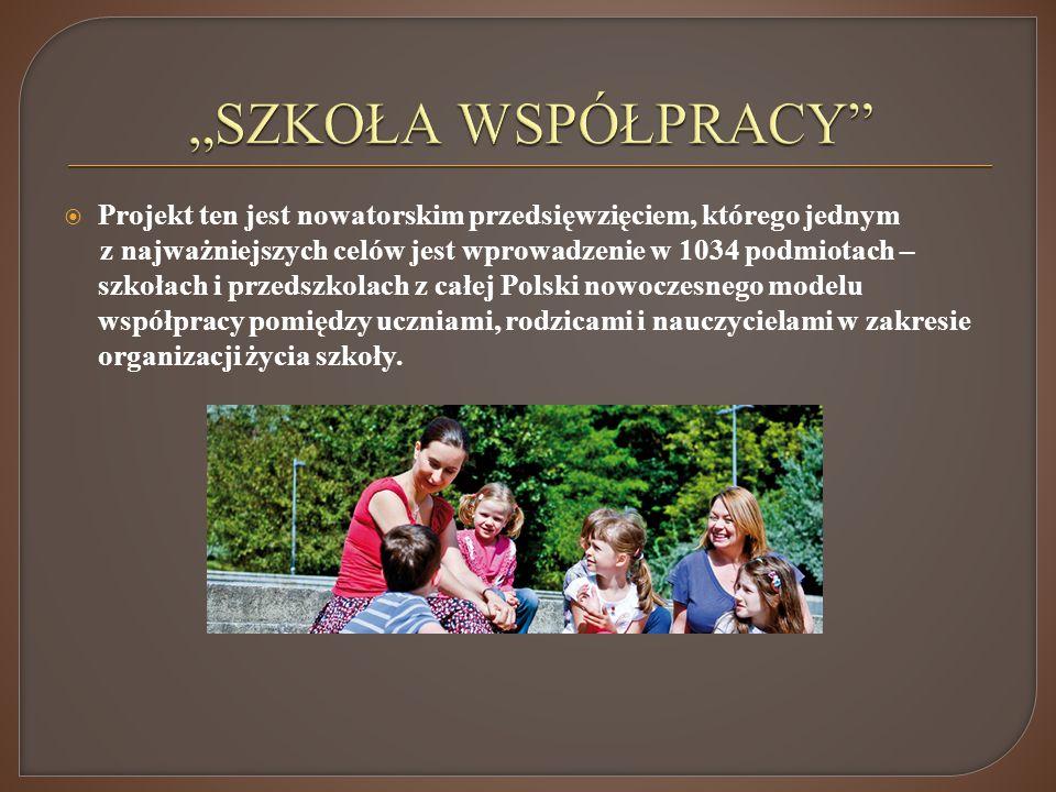Projekt ten jest nowatorskim przedsięwzięciem, którego jednym z najważniejszych celów jest wprowadzenie w 1034 podmiotach – szkołach i przedszkolach z całej Polski nowoczesnego modelu współpracy pomiędzy uczniami, rodzicami i nauczycielami w zakresie organizacji życia szkoły.