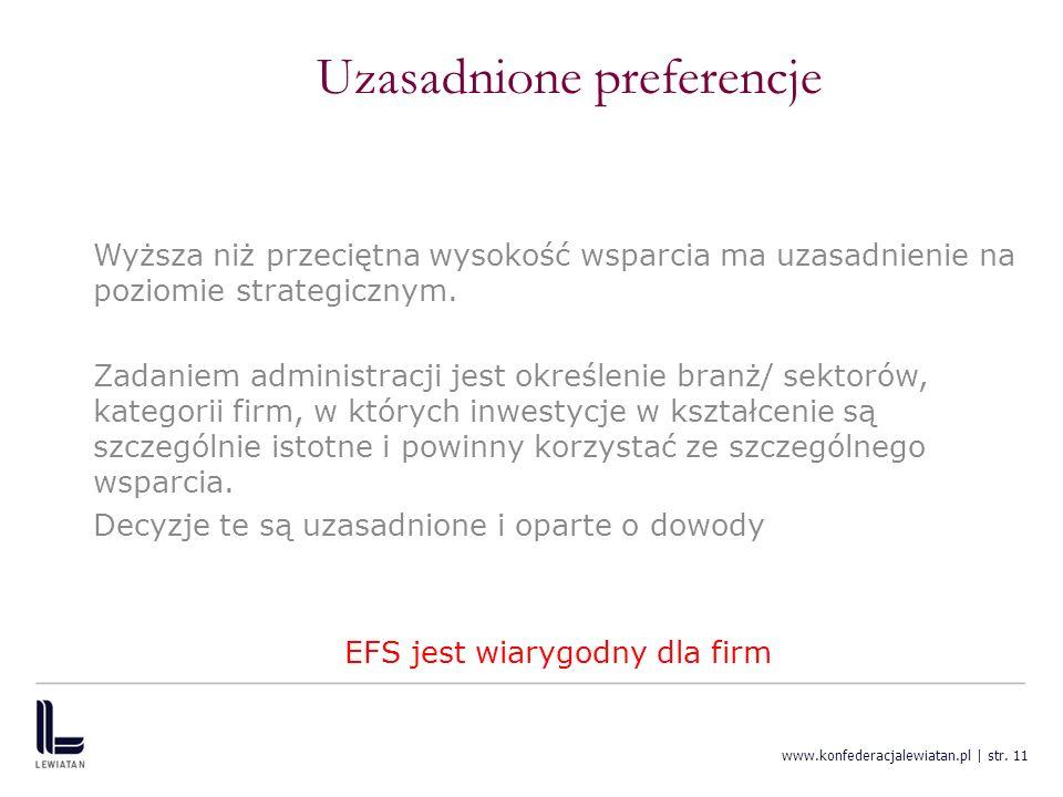 www.konfederacjalewiatan.pl | str. 11 Uzasadnione preferencje Wyższa niż przeciętna wysokość wsparcia ma uzasadnienie na poziomie strategicznym. Zadan