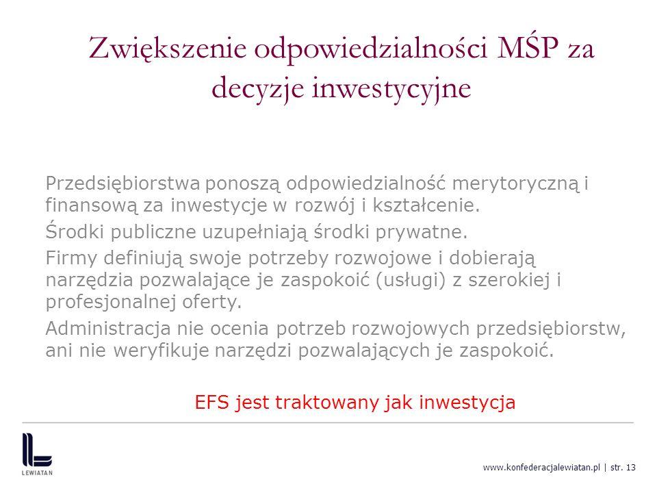 www.konfederacjalewiatan.pl | str. 13 Zwiększenie odpowiedzialności MŚP za decyzje inwestycyjne Przedsiębiorstwa ponoszą odpowiedzialność merytoryczną