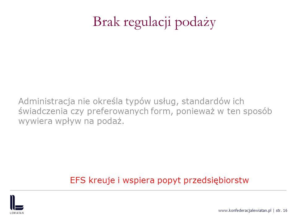 www.konfederacjalewiatan.pl | str. 16 Brak regulacji podaży Administracja nie określa typów usług, standardów ich świadczenia czy preferowanych form,