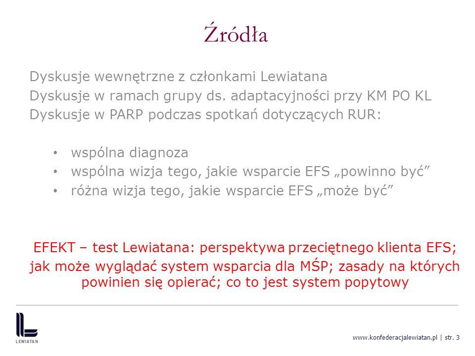 www.konfederacjalewiatan.pl | str. 3 Źródła Dyskusje wewnętrzne z członkami Lewiatana Dyskusje w ramach grupy ds. adaptacyjności przy KM PO KL Dyskusj