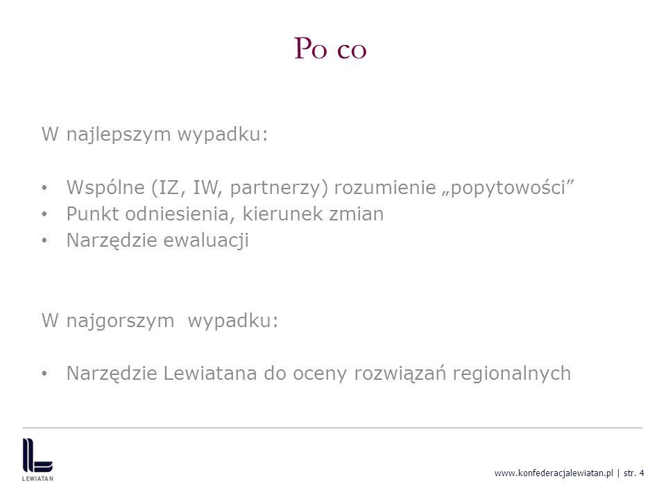 www.konfederacjalewiatan.pl | str. 4 Po co W najlepszym wypadku: Wspólne (IZ, IW, partnerzy) rozumienie popytowości Punkt odniesienia, kierunek zmian