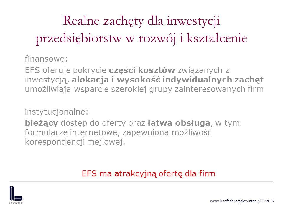 www.konfederacjalewiatan.pl | str. 5 Realne zachęty dla inwestycji przedsiębiorstw w rozwój i kształcenie finansowe: EFS oferuje pokrycie części koszt