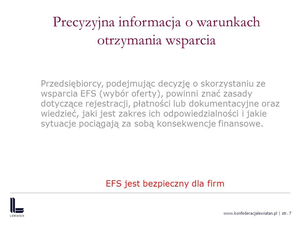 www.konfederacjalewiatan.pl | str. 7 Precyzyjna informacja o warunkach otrzymania wsparcia Przedsiębiorcy, podejmując decyzję o skorzystaniu ze wsparc