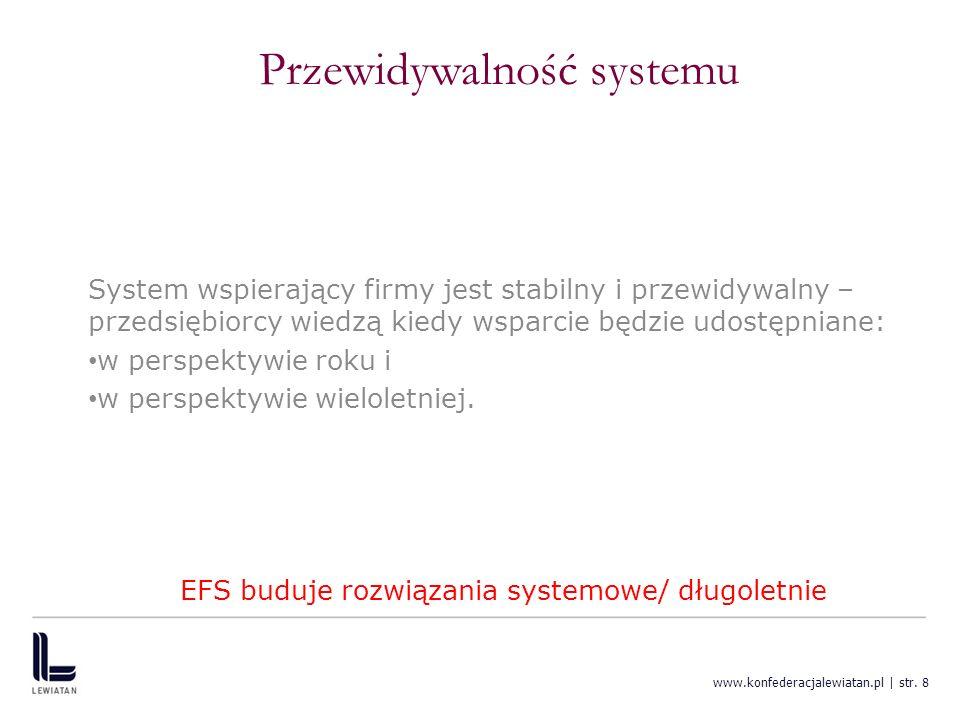 www.konfederacjalewiatan.pl | str. 8 Przewidywalność systemu System wspierający firmy jest stabilny i przewidywalny – przedsiębiorcy wiedzą kiedy wspa